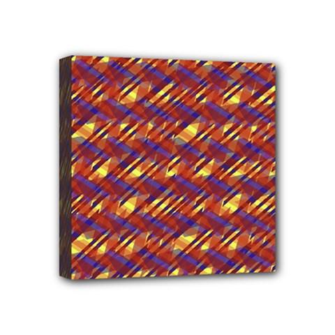 Linje Chevron Blue Yellow Brown Mini Canvas 4  X 4  by Mariart