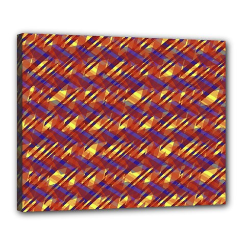 Linje Chevron Blue Yellow Brown Canvas 20  X 16  by Mariart