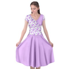Pink And Violet Stars Cap Sleeve Wrap Front Dress by cheekywitch