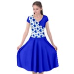 Royal Blue Stars Cap Sleeve Wrap Front Dress