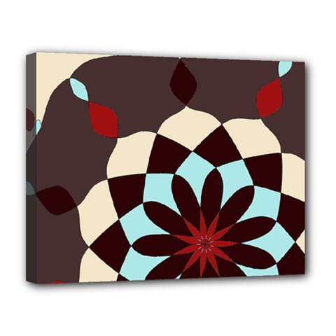 Red And Black Flower Pattern Canvas 14  X 11  by theunrulyartist