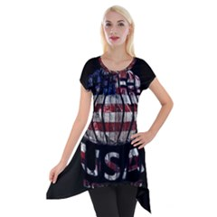Usa Bowling  Short Sleeve Side Drop Tunic by Valentinaart
