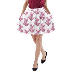 Colorful Cute Floral Design Pattern A Line Pocket Skirt by dflcprintsclothing