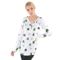 Cactus Pattern Women s Tie Up Tee