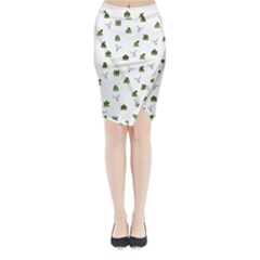 Cactus Pattern Midi Wrap Pencil Skirt by Valentinaart