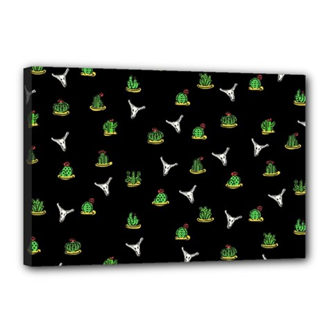 Cactus Pattern Canvas 18  X 12  by Valentinaart