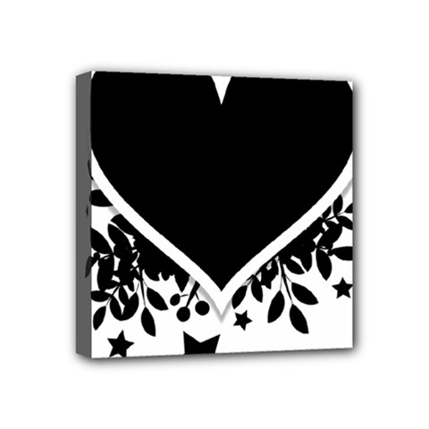 Silhouette Heart Black Design Mini Canvas 4  X 4