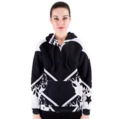 Silhouette Heart Black Design Women s Zipper Hoodie