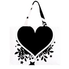 Silhouette Heart Black Design Zipper Large Tote Bag by Nexatart