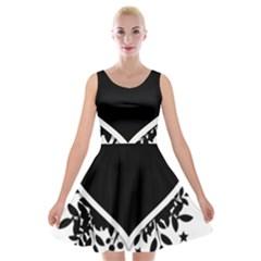 Silhouette Heart Black Design Velvet Skater Dress