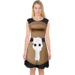 Logo The Cow Animals Capsleeve Midi Dress