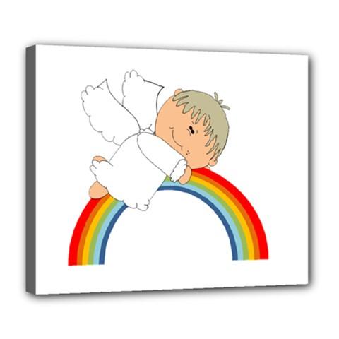 Angel Rainbow Cute Cartoon Angelic Deluxe Canvas 24  X 20   by Nexatart