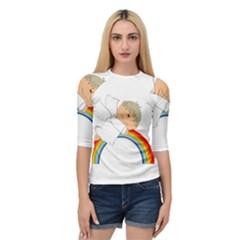 Angel Rainbow Cute Cartoon Angelic Quarter Sleeve Tee