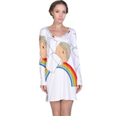 Angel Rainbow Cute Cartoon Angelic Long Sleeve Nightdress