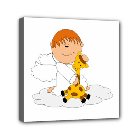Pet Giraffe Angel Cute Boy Mini Canvas 6  X 6