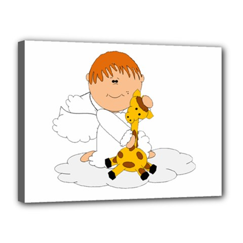 Pet Giraffe Angel Cute Boy Canvas 16  X 12  by Nexatart