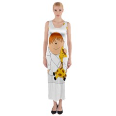 Pet Giraffe Angel Cute Boy Fitted Maxi Dress