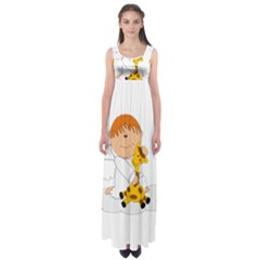 Pet Giraffe Angel Cute Boy Empire Waist Maxi Dress
