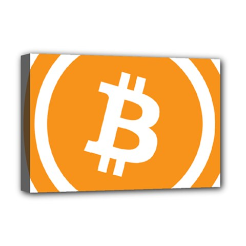 Bitcoin Cryptocurrency Currency Deluxe Canvas 18  X 12