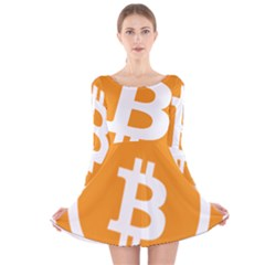 Bitcoin Cryptocurrency Currency Long Sleeve Velvet Skater Dress