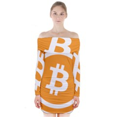 Bitcoin Cryptocurrency Currency Long Sleeve Off Shoulder Dress
