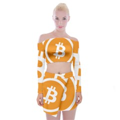 Bitcoin Cryptocurrency Currency Off Shoulder Top With Skirt Set