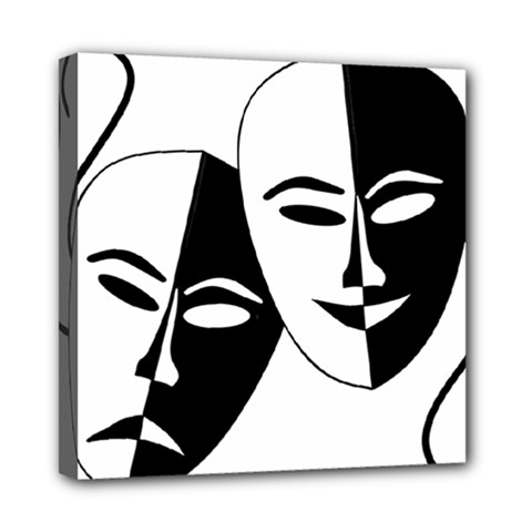 Theatermasken Masks Theater Happy Mini Canvas 8  X 8  by Nexatart