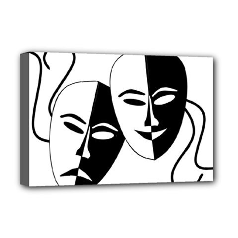 Theatermasken Masks Theater Happy Deluxe Canvas 18  X 12