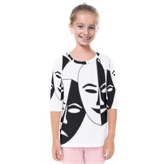Theatermasken Masks Theater Happy Kids  Quarter Sleeve Raglan Tee