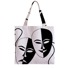 Theatermasken Masks Theater Happy Zipper Grocery Tote Bag by Nexatart