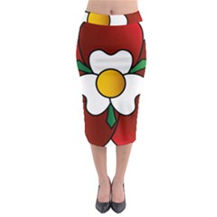 Flower Rose Glass Church Window Midi Pencil Skirt