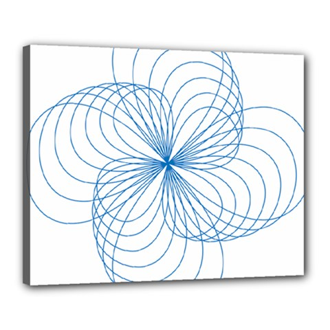 Blue Spirograph Pattern Drawing Design Canvas 20  X 16  by Nexatart