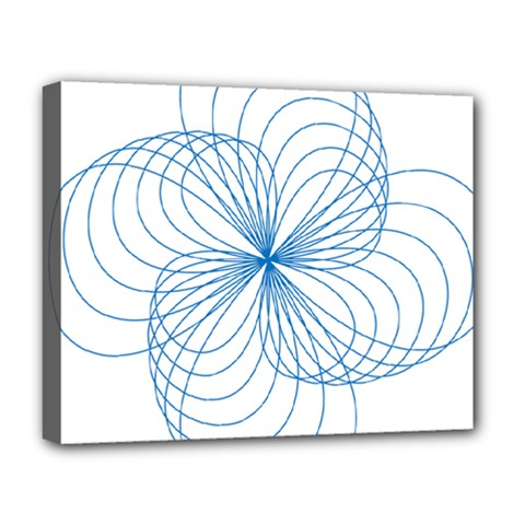 Blue Spirograph Pattern Drawing Design Deluxe Canvas 20  X 16   by Nexatart