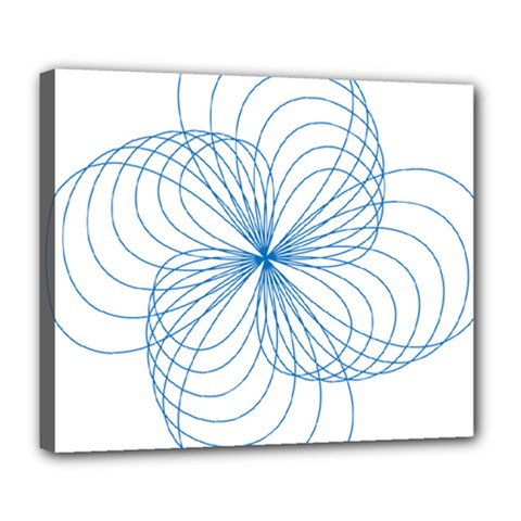 Blue Spirograph Pattern Drawing Design Deluxe Canvas 24  X 20   by Nexatart