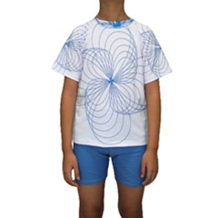 Blue Spirograph Pattern Drawing Design Kids  Short Sleeve Swimwear