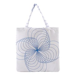 Blue Spirograph Pattern Drawing Design Grocery Tote Bag