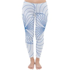 Blue Spirograph Pattern Drawing Design Classic Winter Leggings