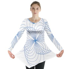 Blue Spirograph Pattern Drawing Design Long Sleeve Tunic  by Nexatart
