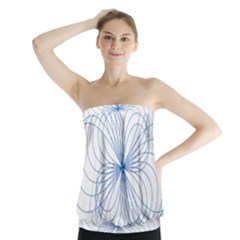Blue Spirograph Pattern Drawing Design Strapless Top