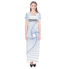 Spirograph Pattern Drawing Design Short Sleeve Maxi Dress