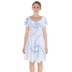 Spirograph Pattern Drawing Design Short Sleeve Bardot Dress