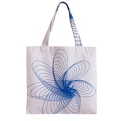 Spirograph Pattern Drawing Design Blue Zipper Grocery Tote Bag by Nexatart