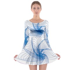 Spirograph Pattern Drawing Design Blue Long Sleeve Skater Dress