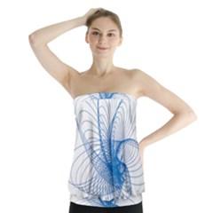 Spirograph Pattern Drawing Design Blue Strapless Top