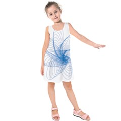 Spirograph Pattern Drawing Design Blue Kids  Sleeveless Dress