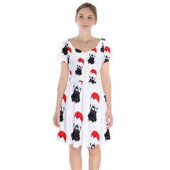 Pattern Sheep Parachute Children Short Sleeve Bardot Dress