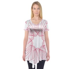 Spirograph Pattern Drawing Design Short Sleeve Tunic
