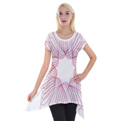 Spirograph Pattern Drawing Design Short Sleeve Side Drop Tunic