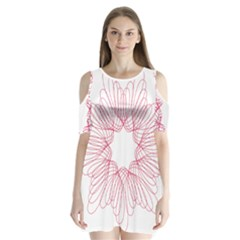 Spirograph Pattern Drawing Design Shoulder Cutout Velvet  One Piece