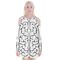 Brain Mind Gray Matter Thought Velvet Long Sleeve Shoulder Cutout Dress